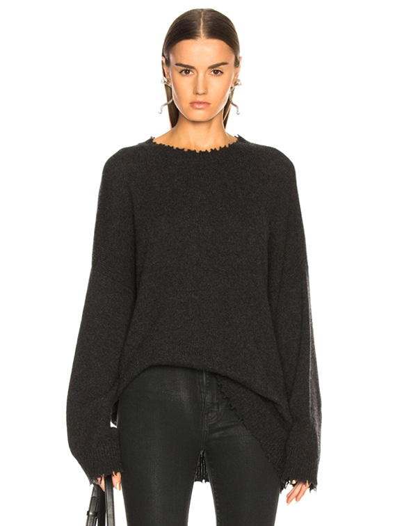 Boyfriend Cashmere Crewneck Sweater in Charcoal