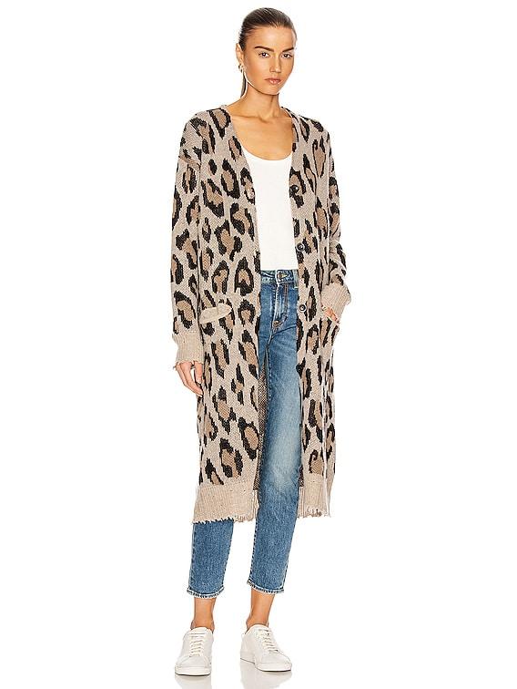 Long Leopard Cardigan in Leopard