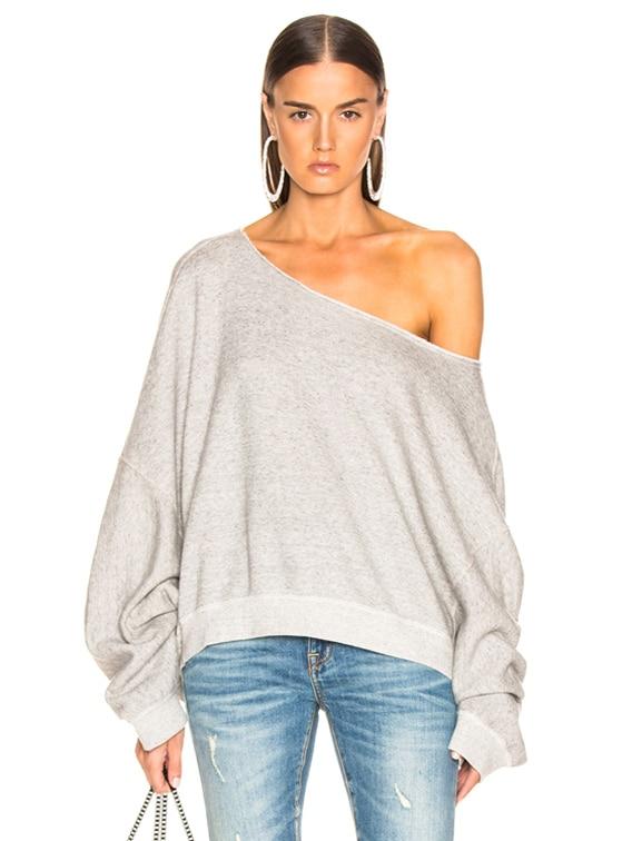 Off Shoulder Patti Sweatshirt in Heather Grey