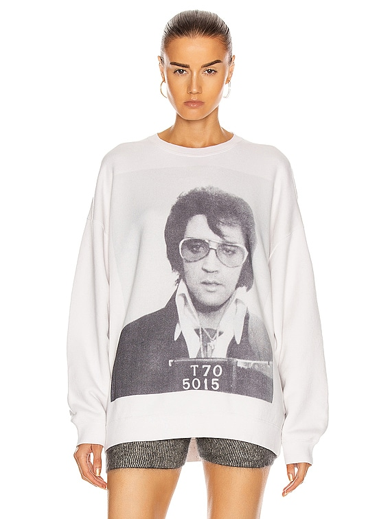 Elvis T70 Oversized Crewneck Sweatshirt in Dirty White