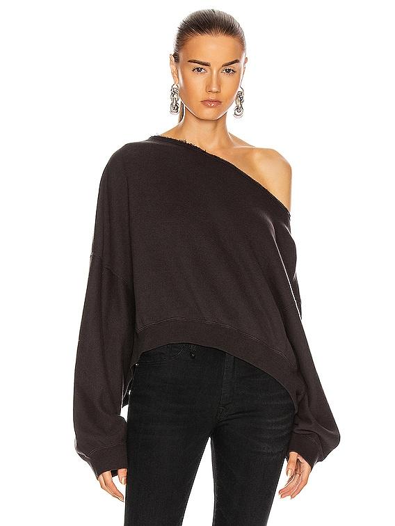 Off Shoulder Patti Sweatshirt in Washed Black