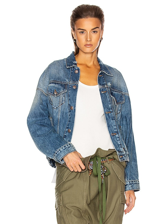 Oversized Cinched Waist Trucker Jacket in Jasper