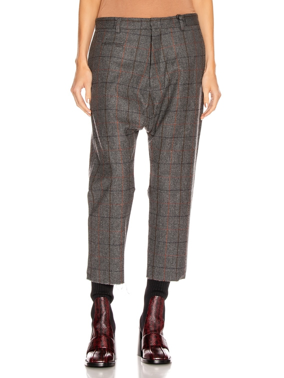 Tailored Drop Trouser in Grey Plaid