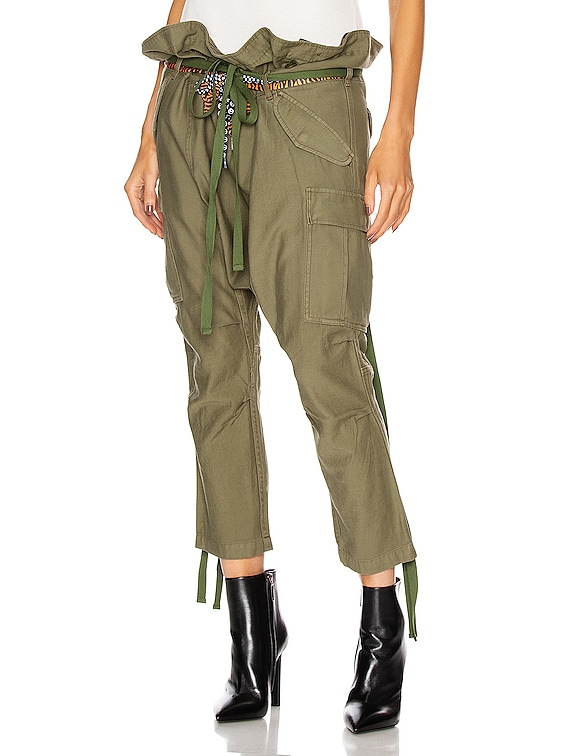 Rolled Waist Cargo Pant in Olive