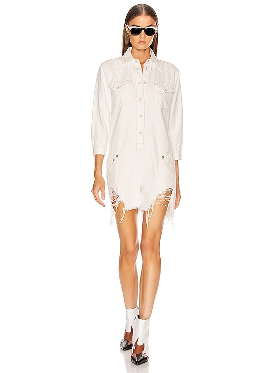 Cowboy Romper in Powell White