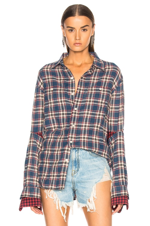 Double Sleeve Shirt in Blue Pink Plaid