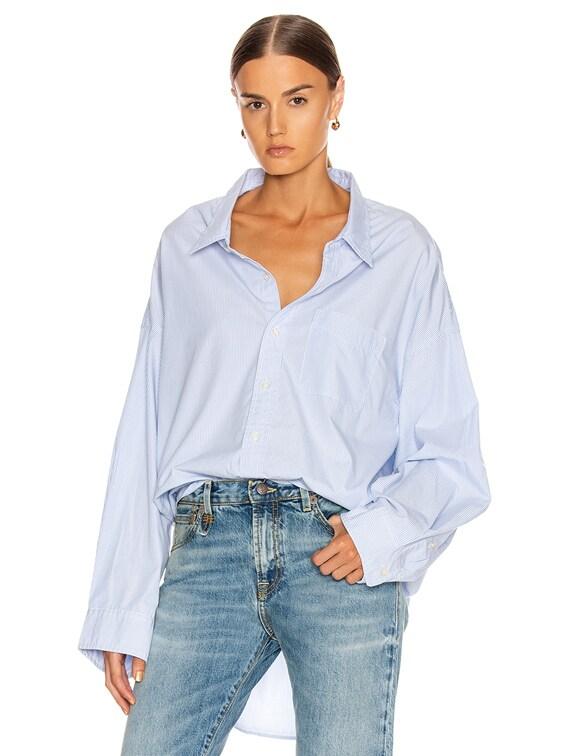 Drop Neck Oxford Shirt in Blue & White Pinstripe