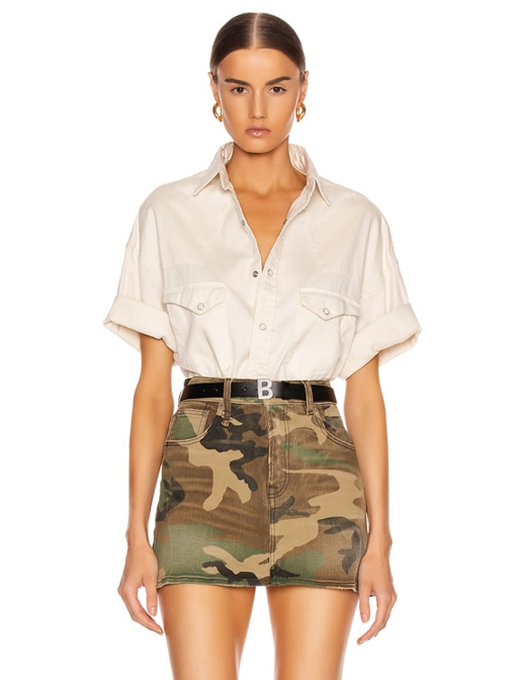 Oversized Cowboy Short Sleeve Shirt in White