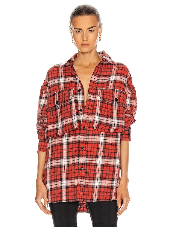 Oversized Shirt in Red Plaid