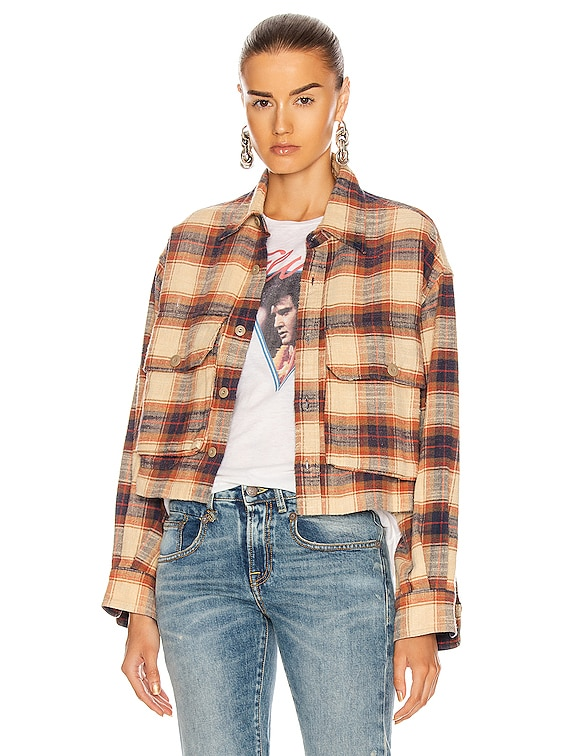 Oversized Cropped Shirt in Beige Plaid