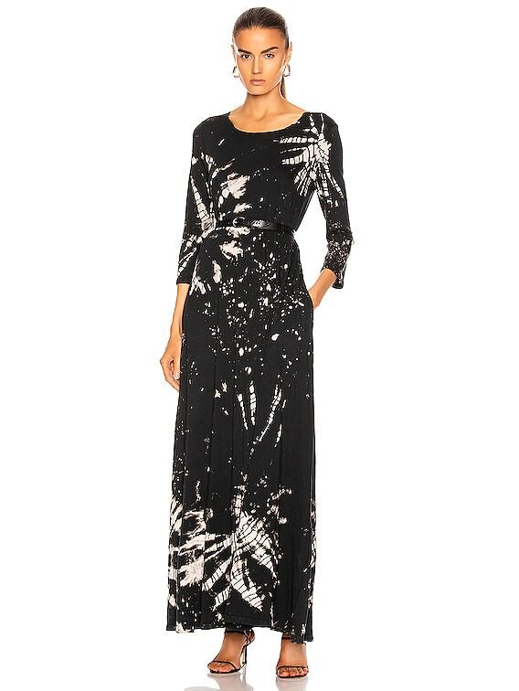 Half Sleeve Drama Maxi Dress in Black Constellation Tie Dye