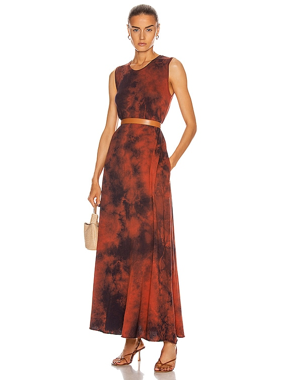 Sleeveless Drama Maxi Dress in Red Tie Dye