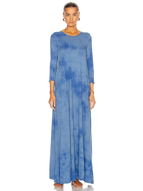 Half Sleeve Drama Maxi Dress in Blue Tie Dye