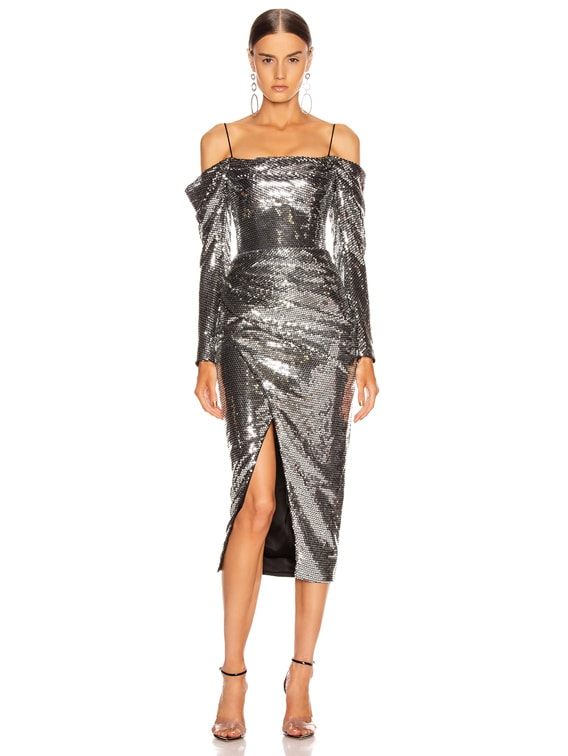 Cold Shoulder Sequined Midi Dress in Silver