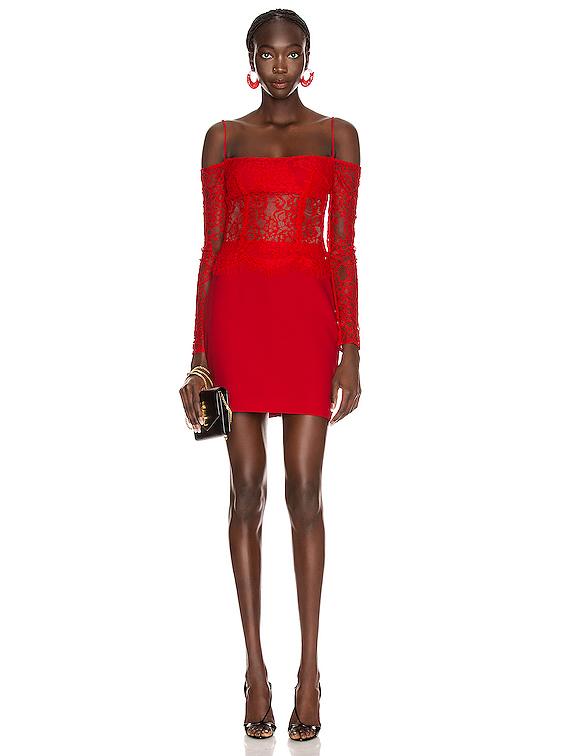 Cold Shoulder Mini Dress in Red