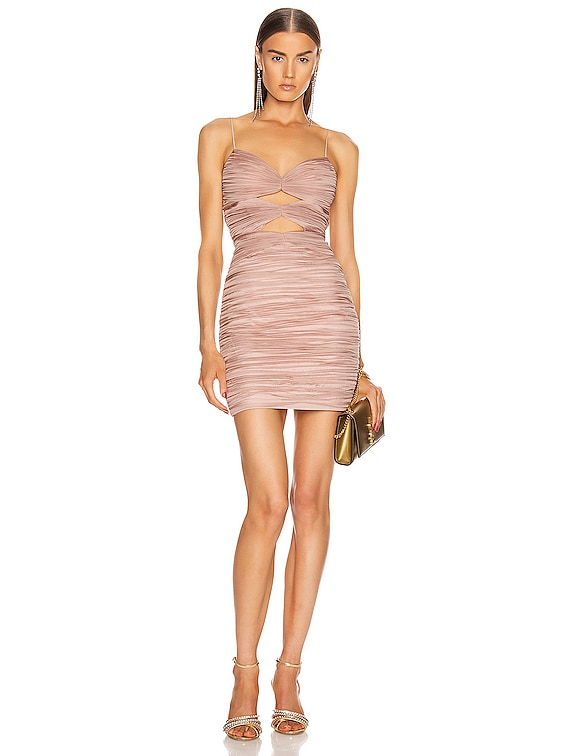 Draped Cutout Mini Dress in Pink Beige
