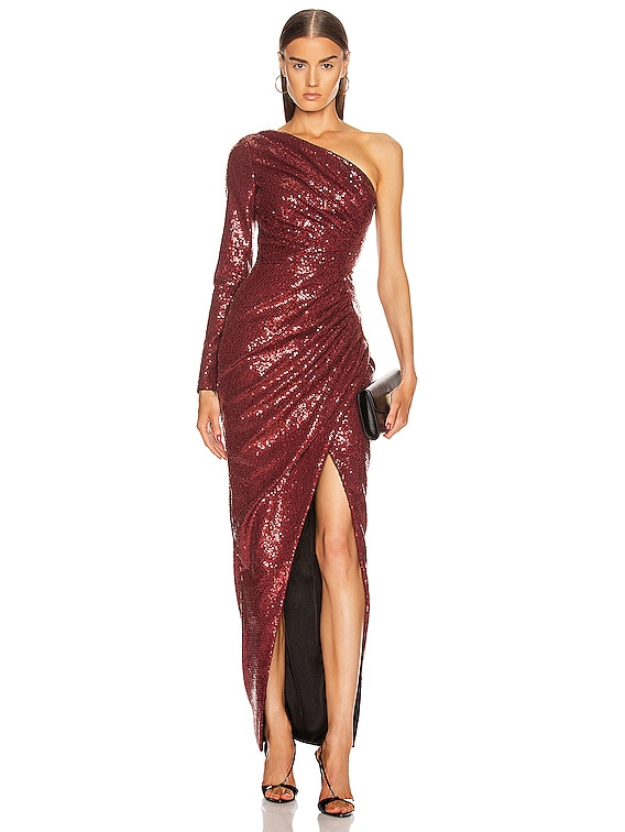 for FWRD One Shoulder Draped Sequin Gown in Burgundy