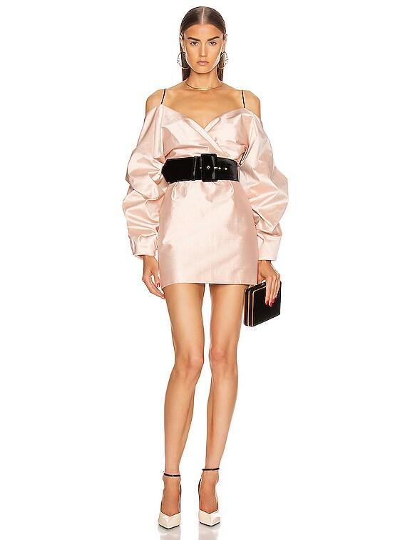 for FWRD Cold Shoulder Mini Dress in Pink Beige