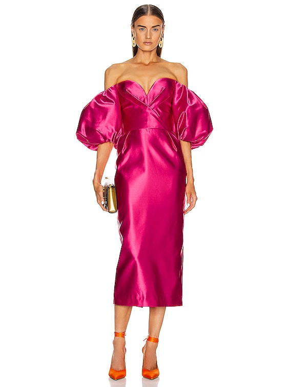 for FWRD Puff Sleeve Corset Midi Dress in Hot Pink