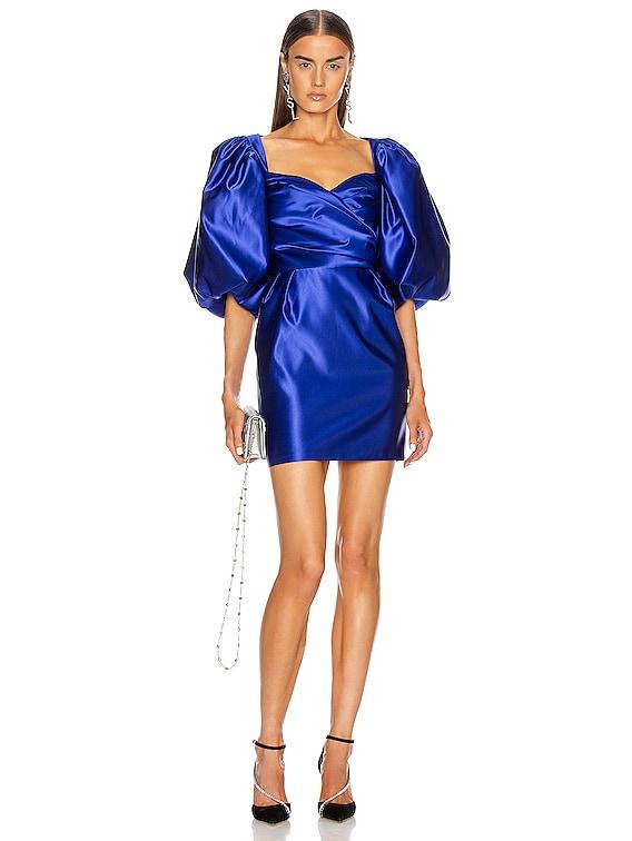 for FWRD Puff Sleeve Draped Corset Mini Dress in Cobalt Blue
