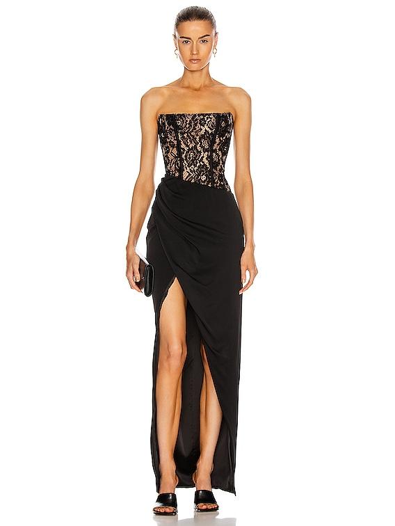 Asymmetric Lace Corset Gown in Black