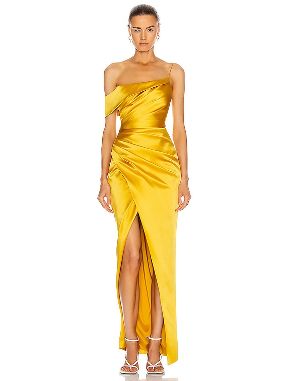 Asymmetric Draped Gown in Yellow