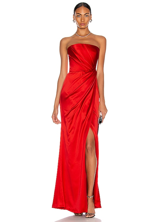 Asymmetric Draped Corset Gown in Red