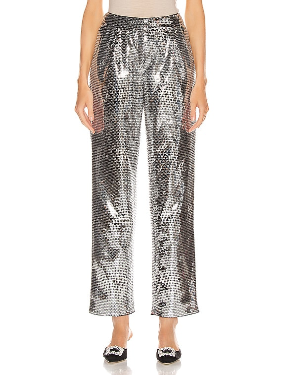 Sequined Cigarette Pant in Silver
