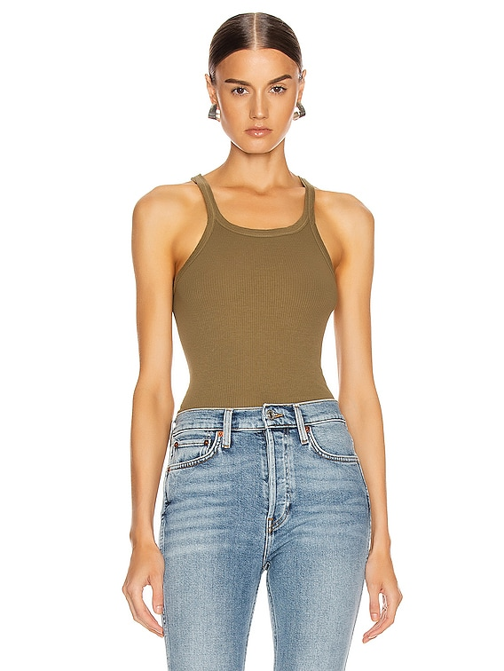 Ribbed Tank in Army Green