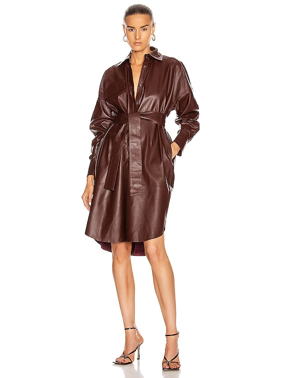 Bologna Leather Dress in Port Royale