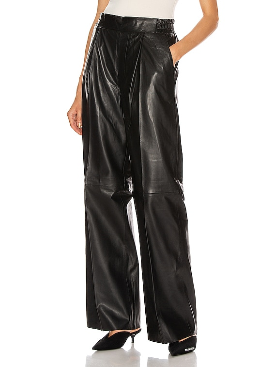 Duchesse Leather Pant in Black