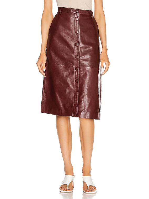 Bellis Leather Skirt in Port Royale