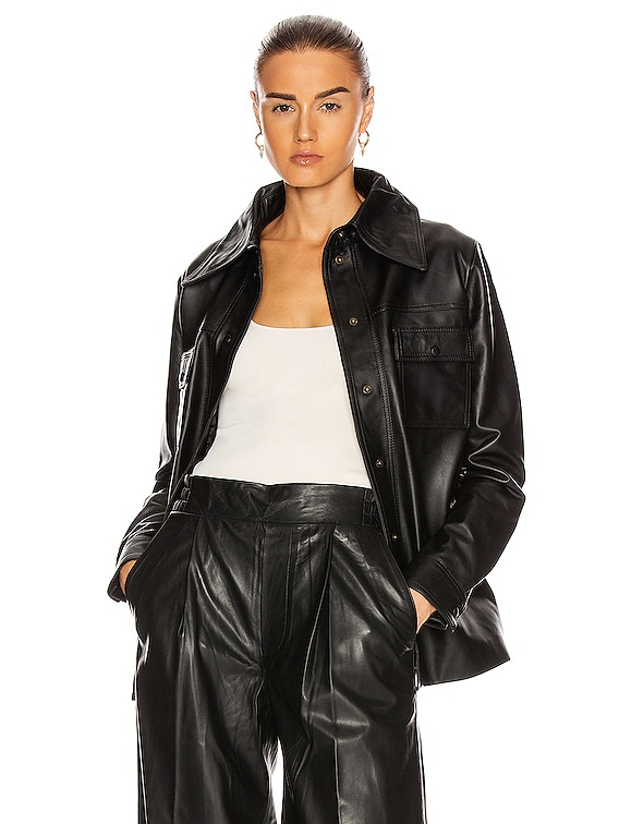 Rosalee Long Sleeve Leather Shirt in Black
