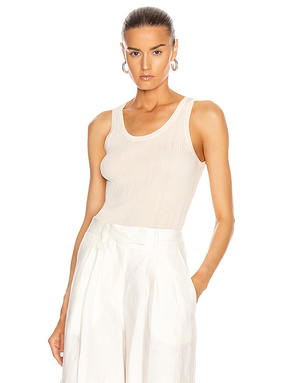 Gere Sleeveless Knit Top in White Asparagus