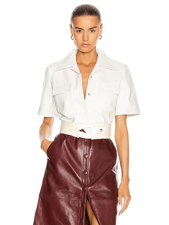 Sienna Leather Shirt in Bright White
