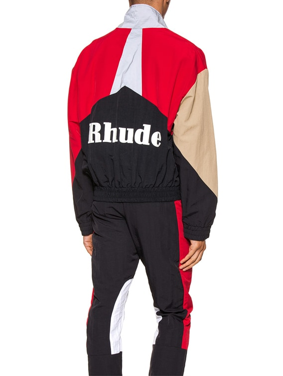 Flight Jacket in Red & Black & Tan