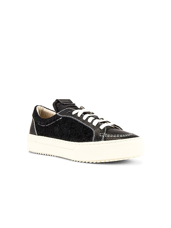 V1-Lo Sneaker in Black Leather & Black Suede & White