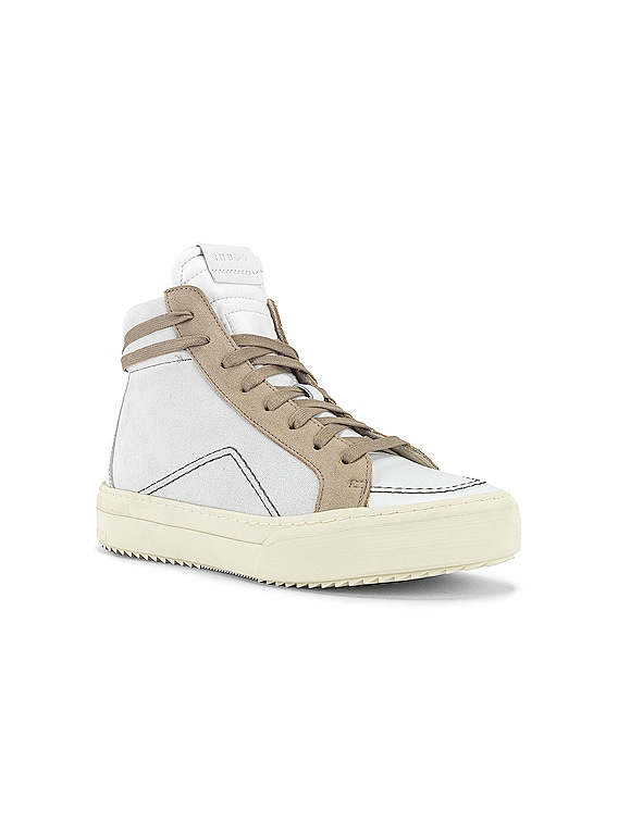 V1-Hi Sneaker in White Leather & Grey Suede & Brown White