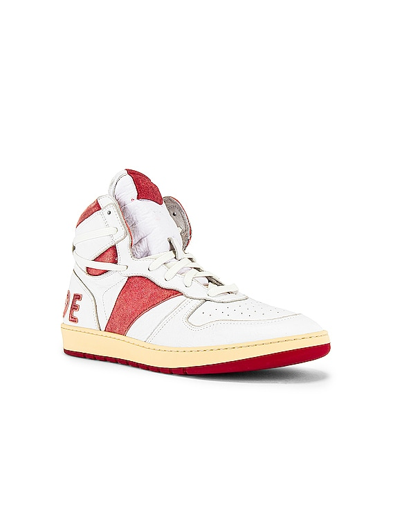 Bball Hi Sneaker in White Leather & Red