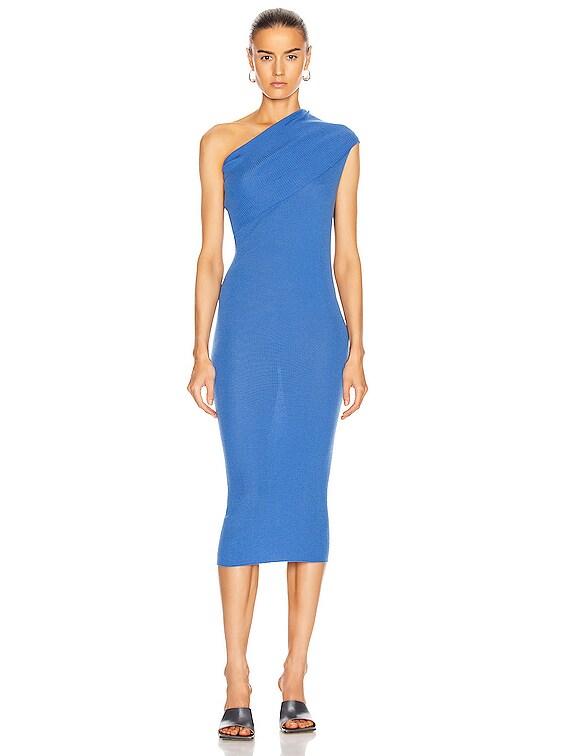 One Shoulder Dress in Blue