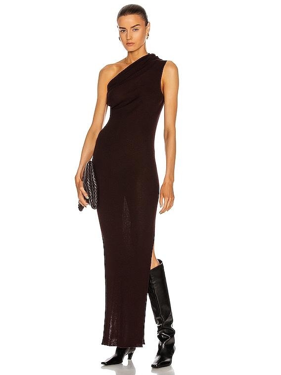 Ribbed One Shoulder Dress in Burgundy