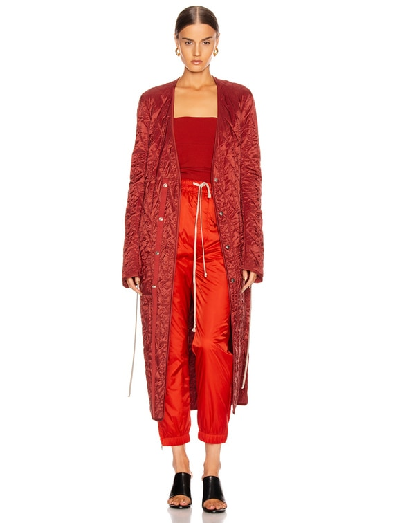 Long Quilted Coat in Cherry