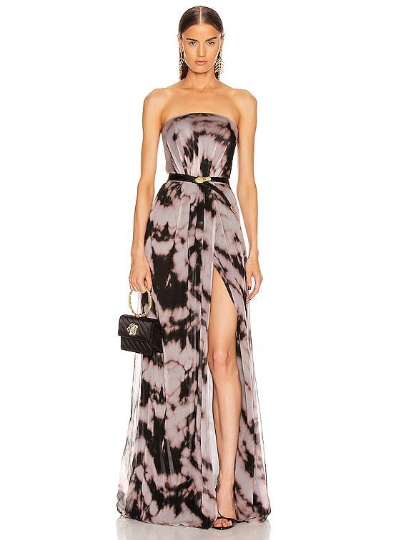 Strapless Dress in Rosa & Nero