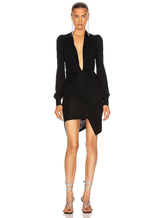 Wrapped Mini Dress in Black