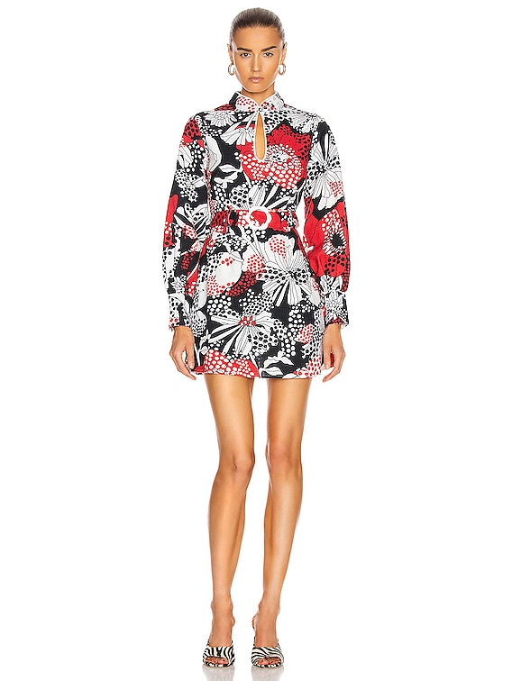 Michelle Dress in Mono Red Floral