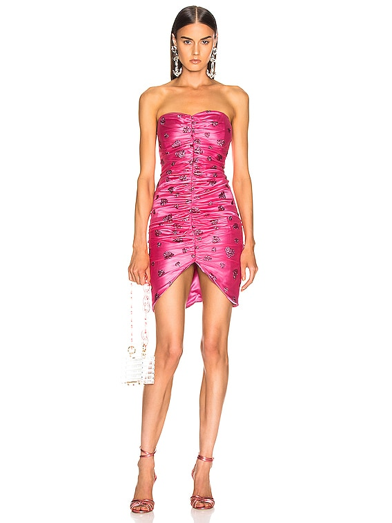 Glitter Heart Strapless Ruched Dress in Flamingo
