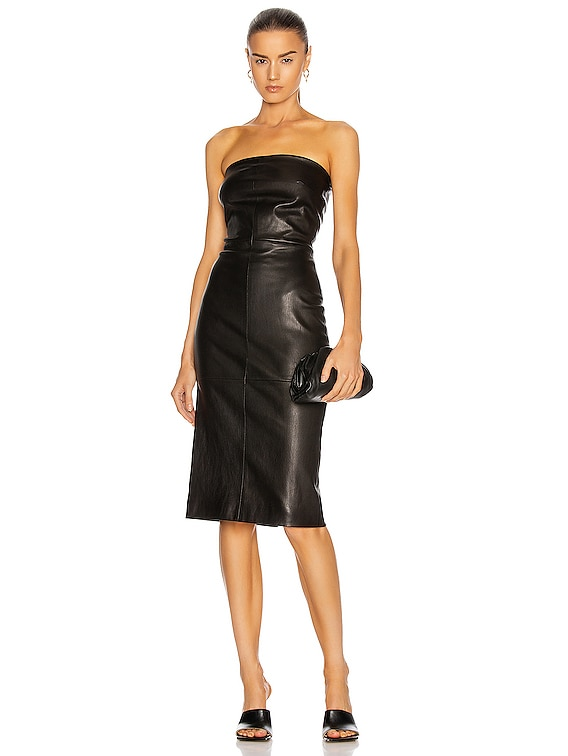 Leather Strapless Dress in Black