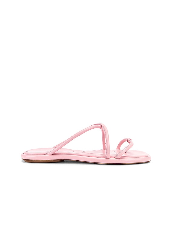 Leather Strappy Slides in Quartz
