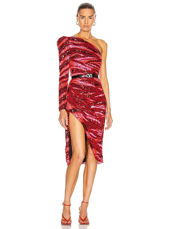 Fabienne Midi Dress in Red Zebra Multi