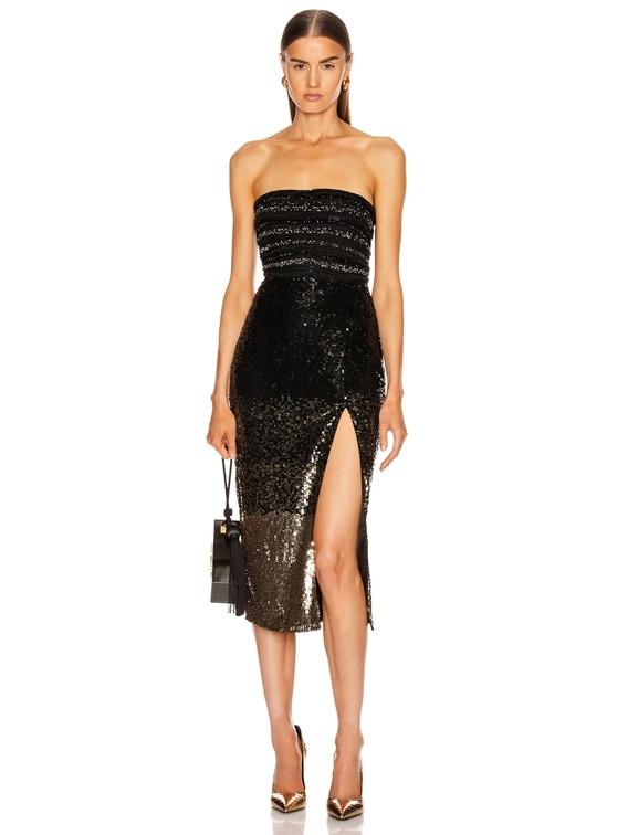 Ilma Dress in Black Gold Degrade
